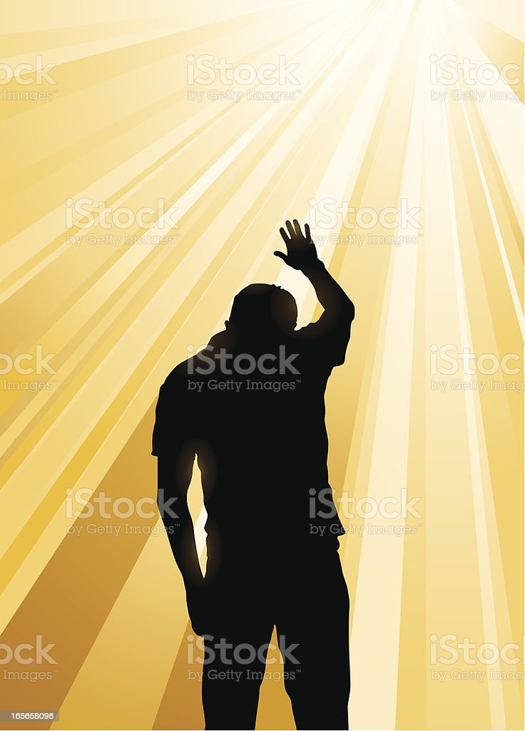 Silhouette of man praying in the midst of yellow sun rays royalty-free stock vector art