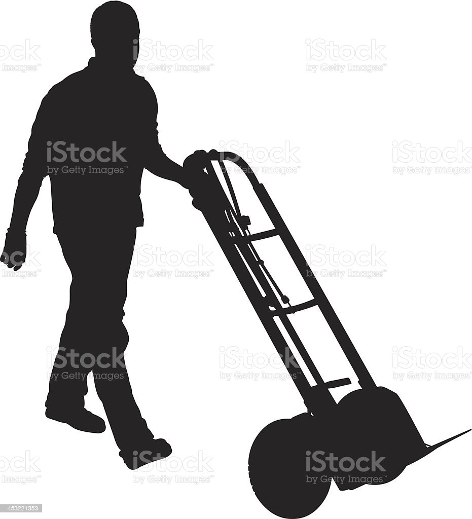Silhouette of man pushing a handtruck royalty-free stock vector art