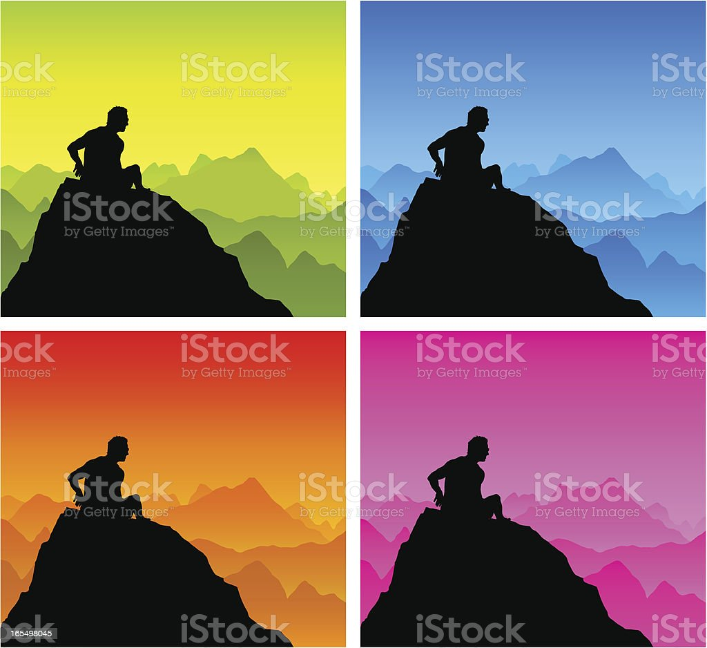 Silhouette of man sat on a mountain top royalty-free stock vector art