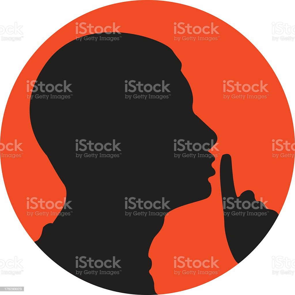 Silhouette of man shushing in red circle vector art illustration