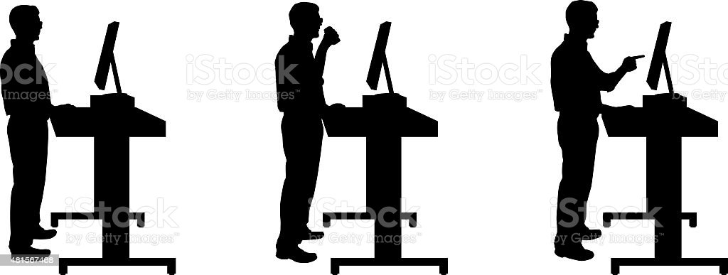Silhouette of man standing at stand up desk vector art illustration