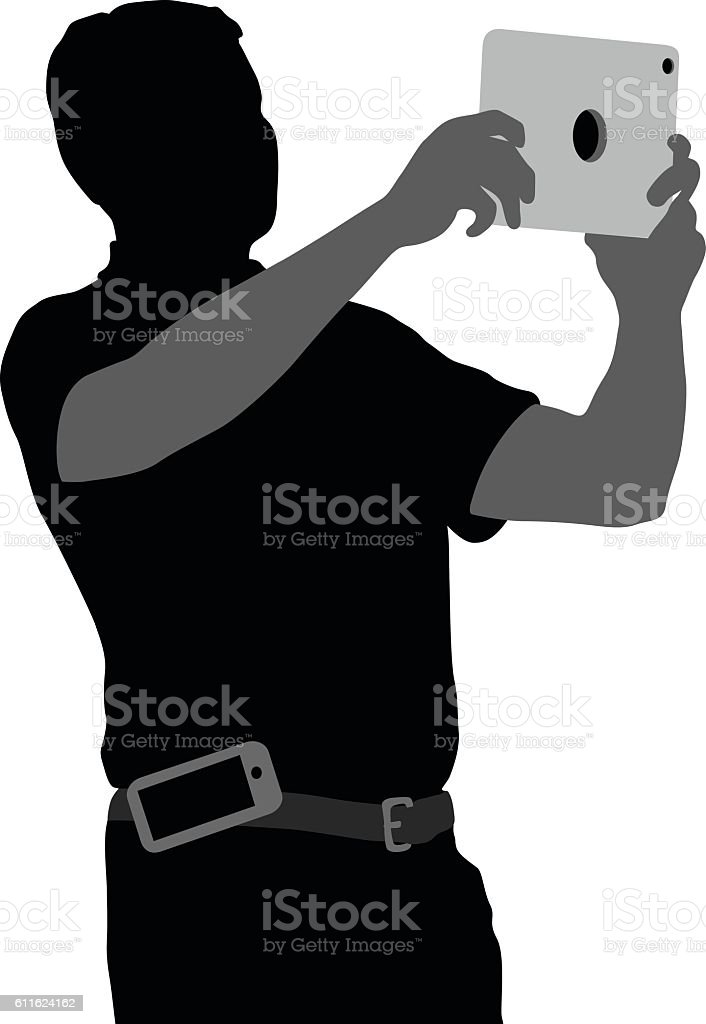 Silhouette Of Man Taking Snapshots With A Tablet vector art illustration