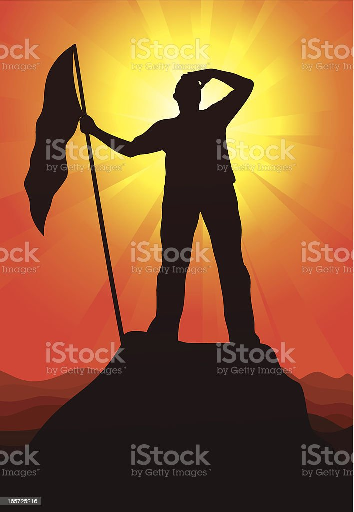 Silhouette of man with flag on mountain peak at sunset royalty-free stock vector art
