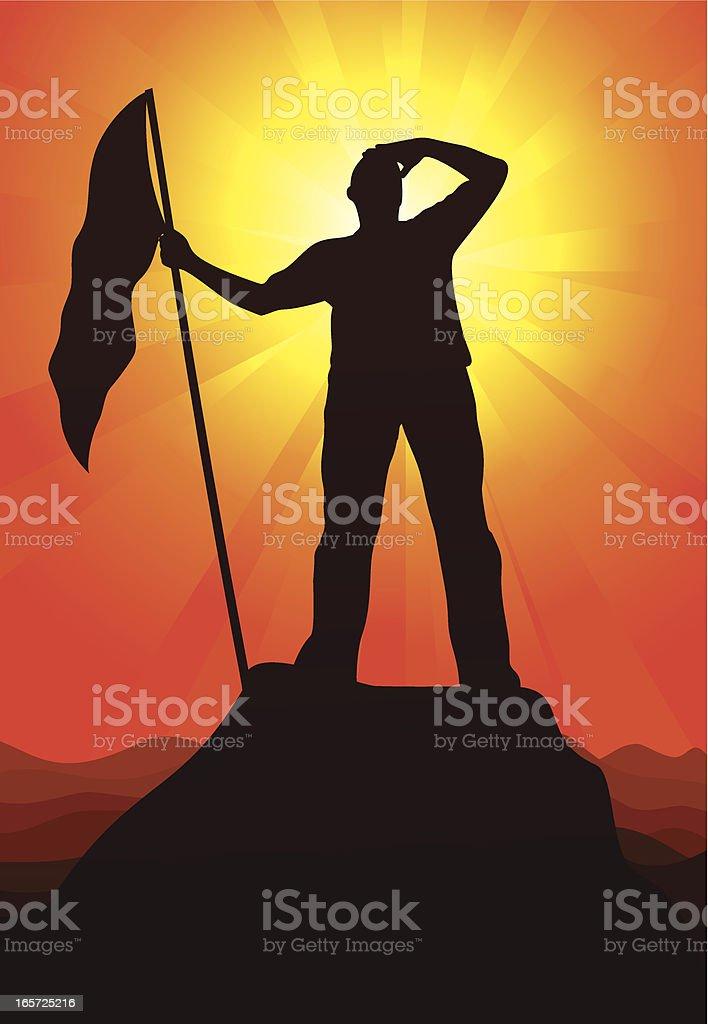 Silhouette of man with flag on mountain peak at sunset vector art illustration