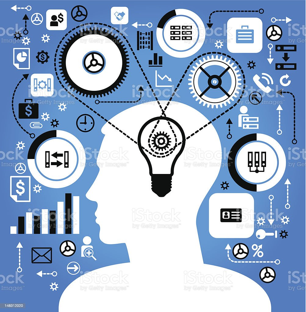 Silhouette of man with lightbulb brain connected to ideas royalty-free stock vector art
