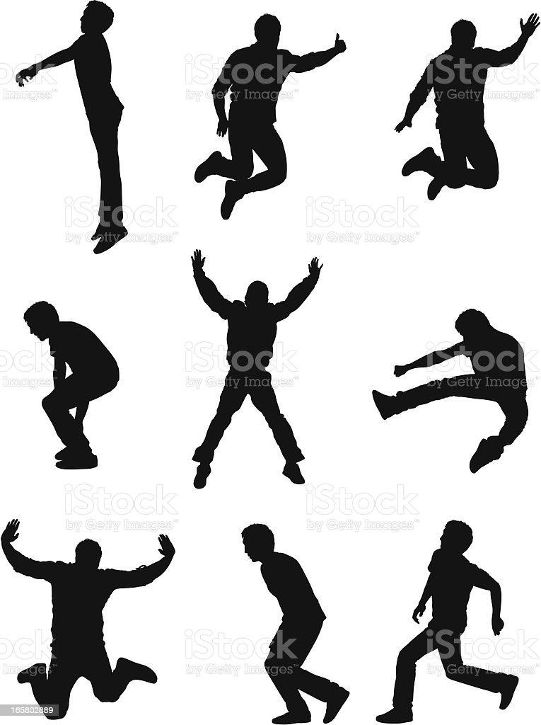 Silhouette of men in action vector art illustration