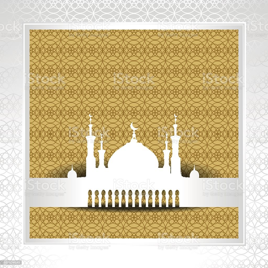 Silhouette of mosque with minarets vector art illustration