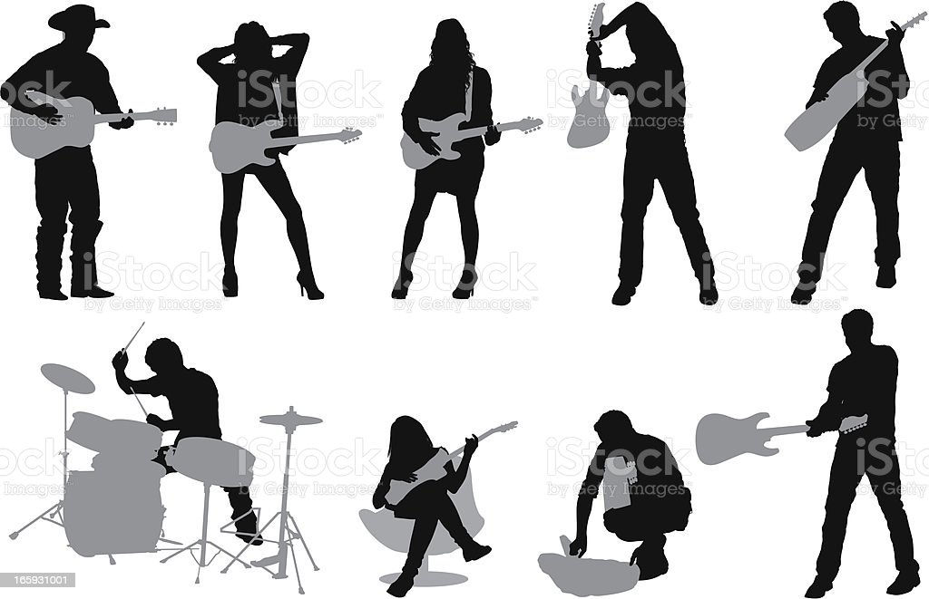 Silhouette of musicians royalty-free stock vector art