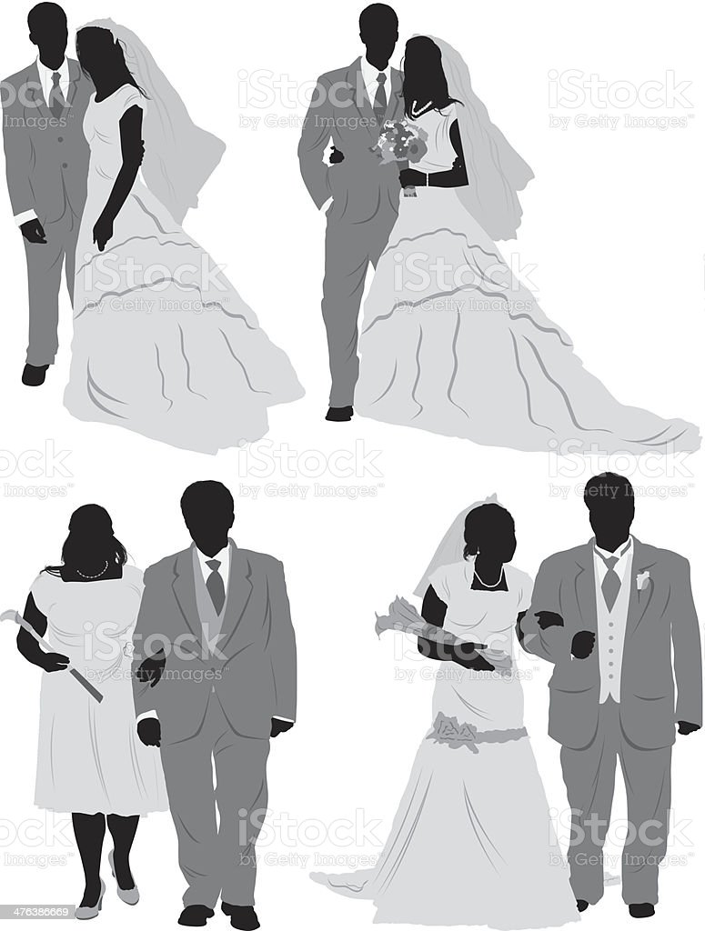 Silhouette of newlywed couples royalty-free stock vector art