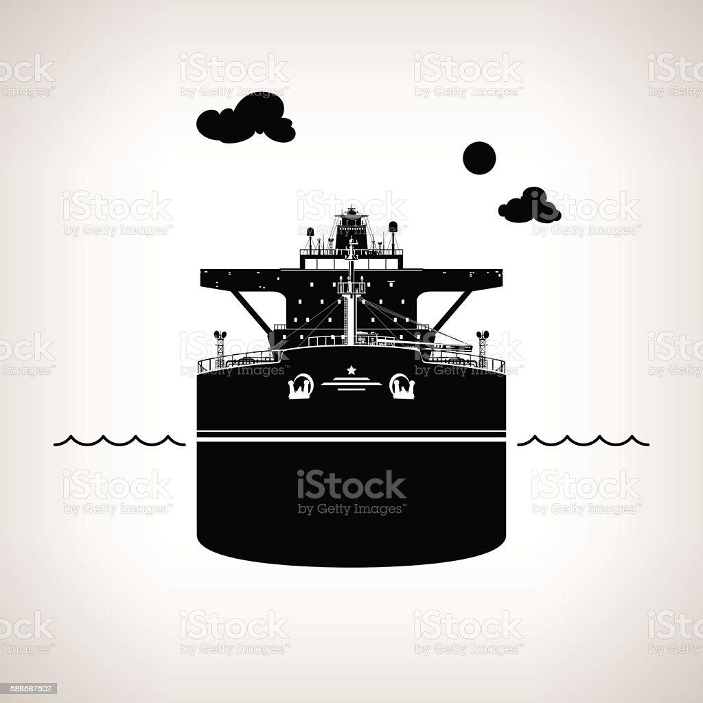 Silhouette of Oil Tanker vector art illustration