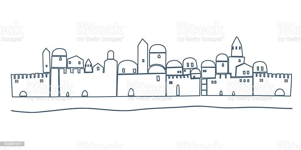 Silhouette of Old Jerusalem, Illustration vector art illustration