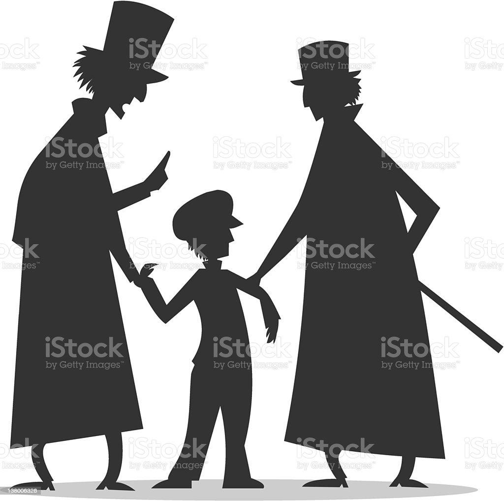 silhouette of orphan boy in danger vector art illustration