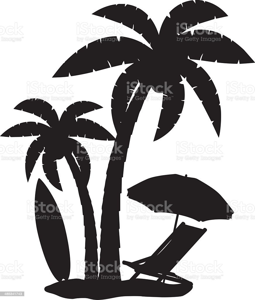 silhouette of palm trees vector illustration royalty-free stock vector art