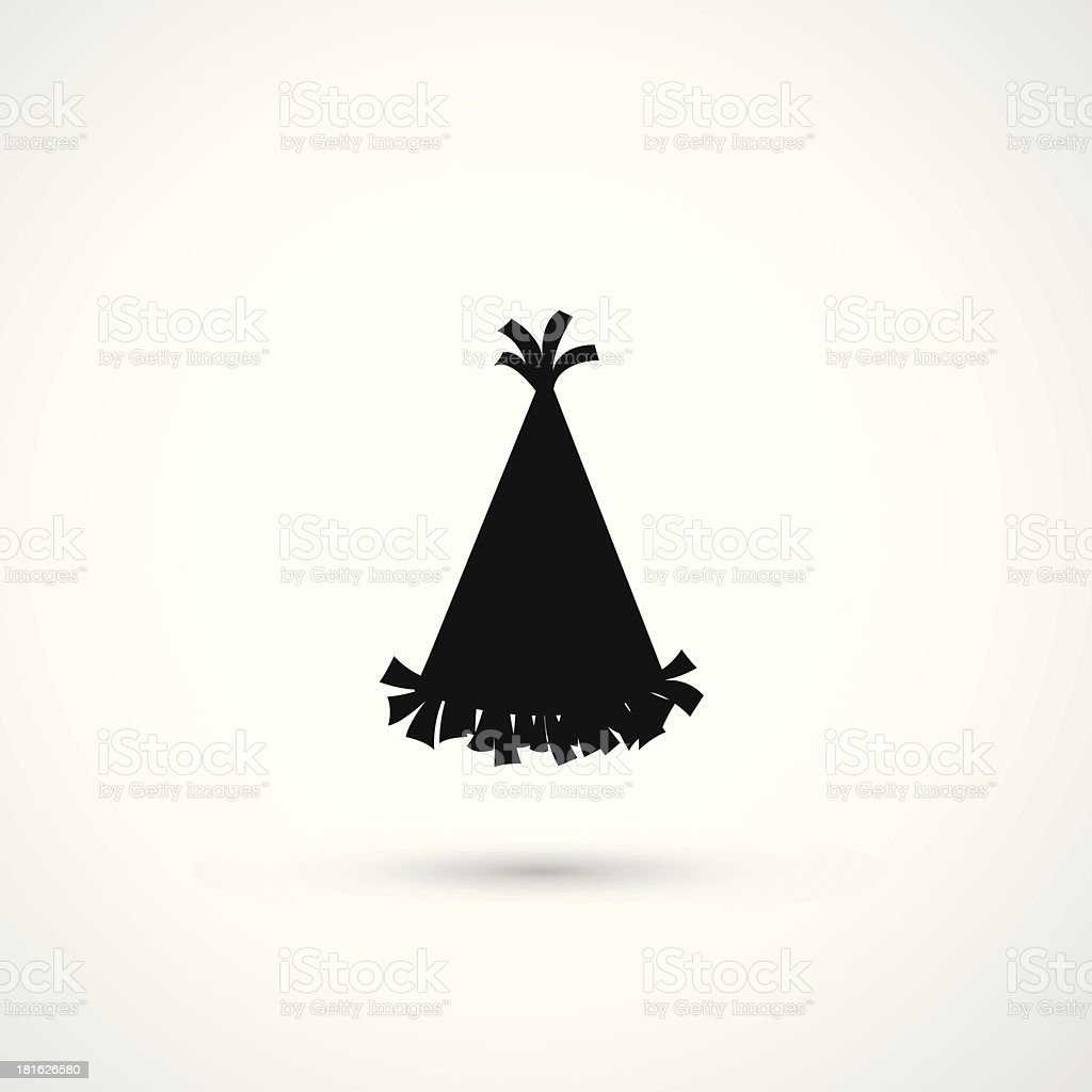 Silhouette of party hat fringed with tassels vector art illustration