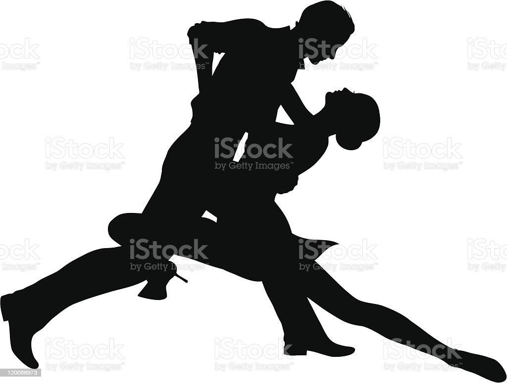 Silhouette of passionate tango dancing couple vector art illustration