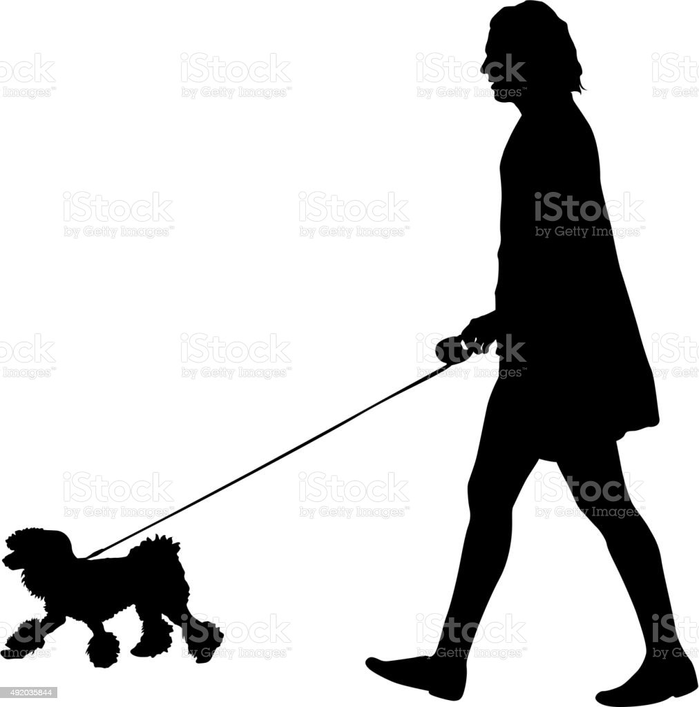 Silhouette of people and dog. Vector illustration. vector art illustration