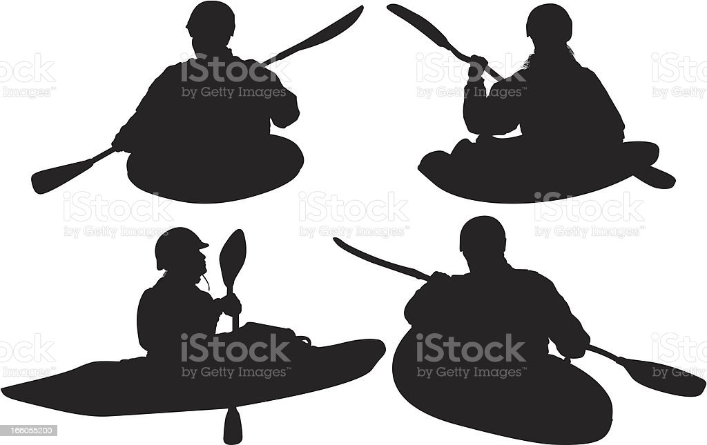 Silhouette of people canoeing royalty-free stock vector art