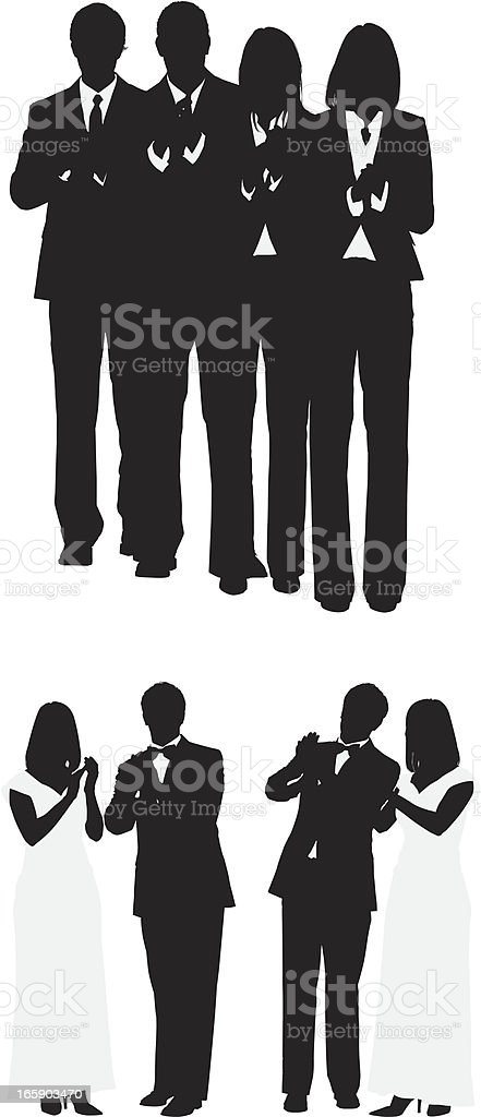 Silhouette of people clapping royalty-free stock vector art