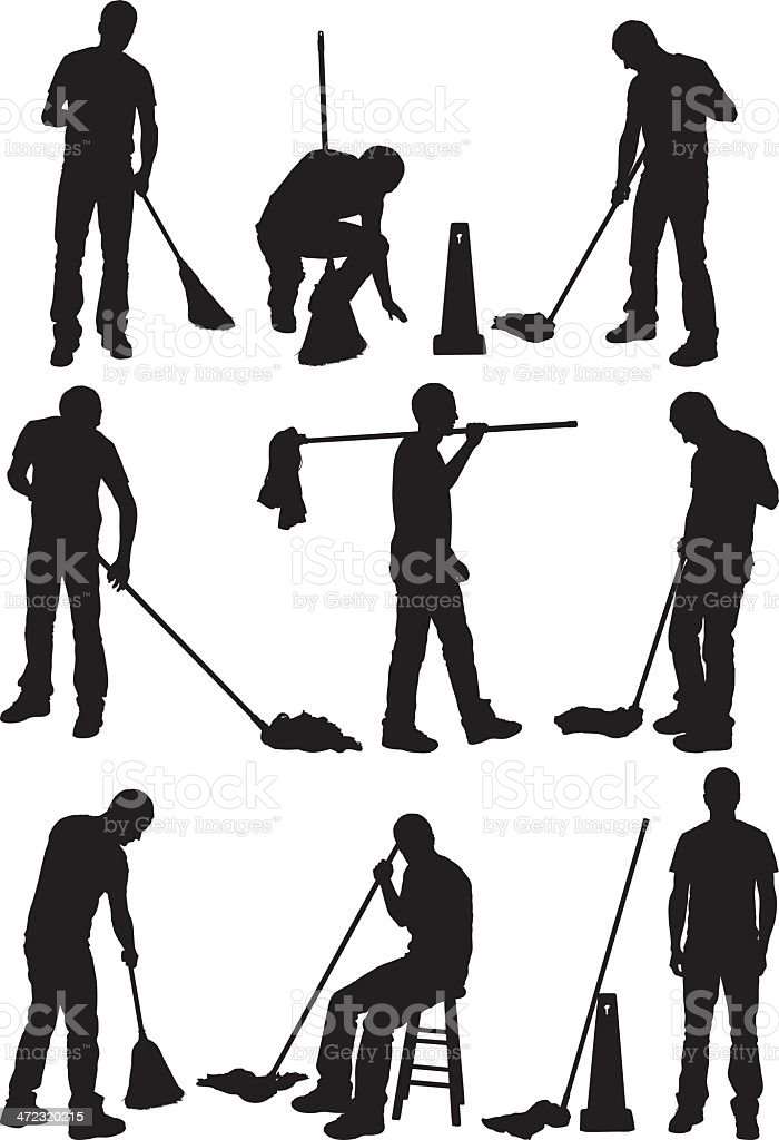 Silhouette of people cleaning the floor vector art illustration