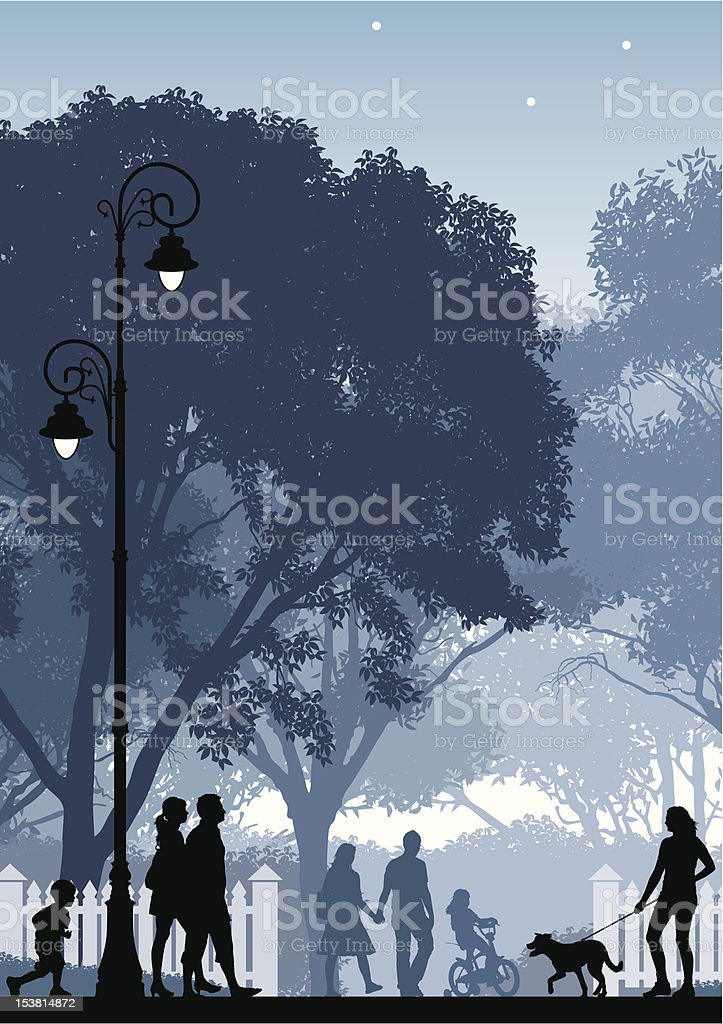 Silhouette of people doing various activities in a park royalty-free stock vector art