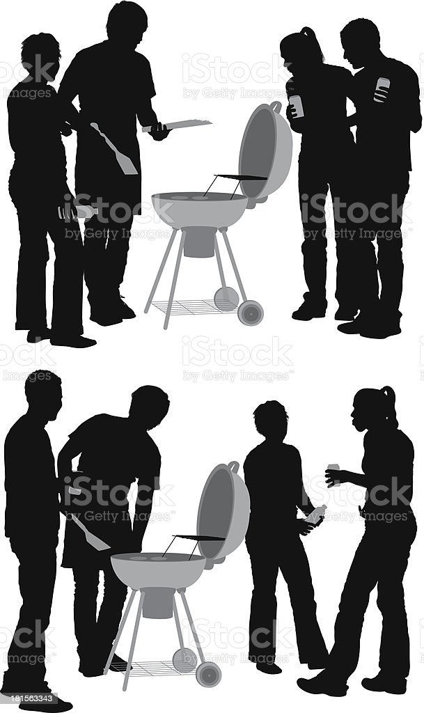 Silhouette of people in a barbecue setting royalty-free stock vector art