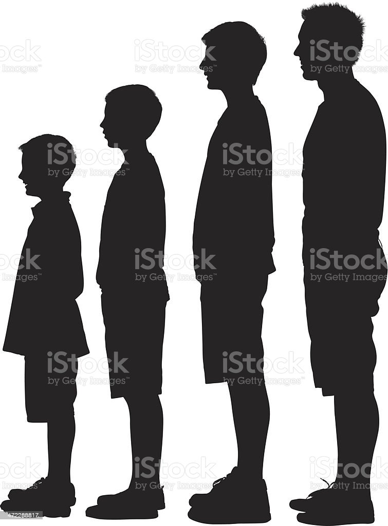 Silhouette of people in ascending order vector art illustration