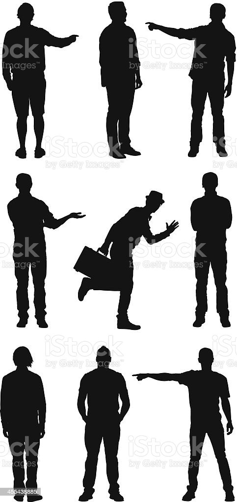 Silhouette of people in different action vector art illustration