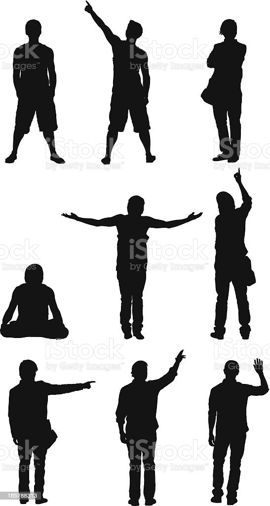 Silhouette of people in different activities vector art illustration