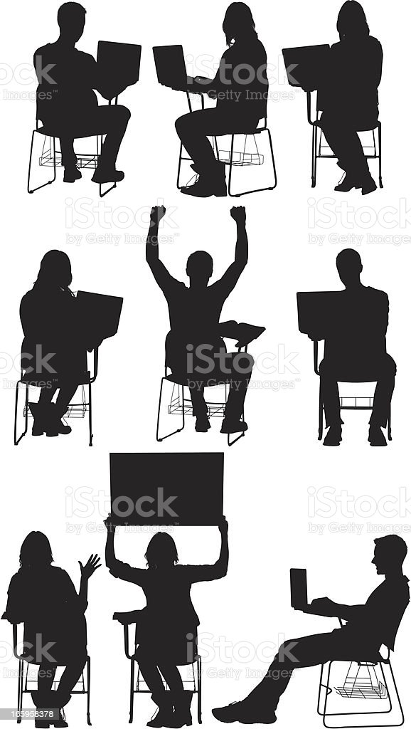 Silhouette of people in different poses royalty-free stock vector art