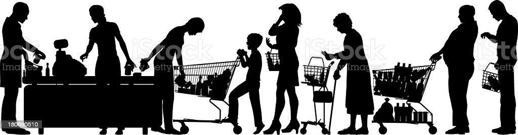 Silhouette of people in supermarket queue vector art illustration