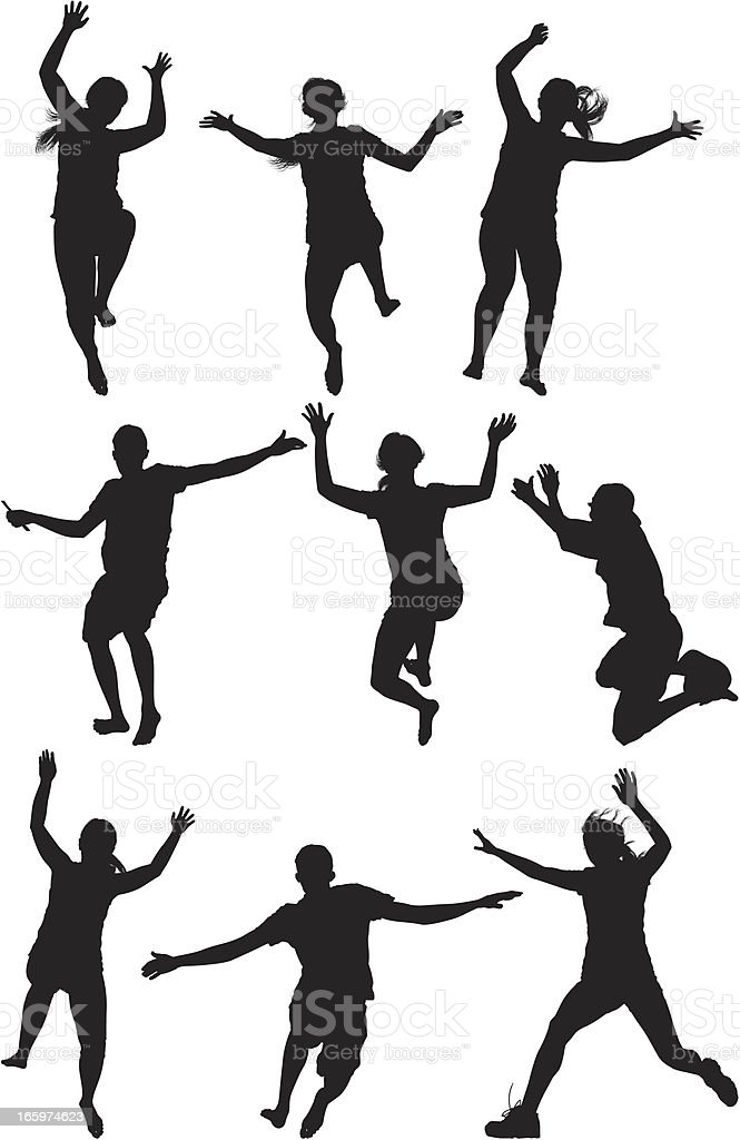 Silhouette of people jumping royalty-free stock vector art