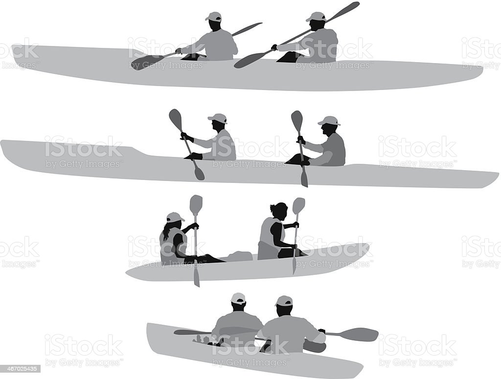 Silhouette of people kayaking royalty-free stock vector art