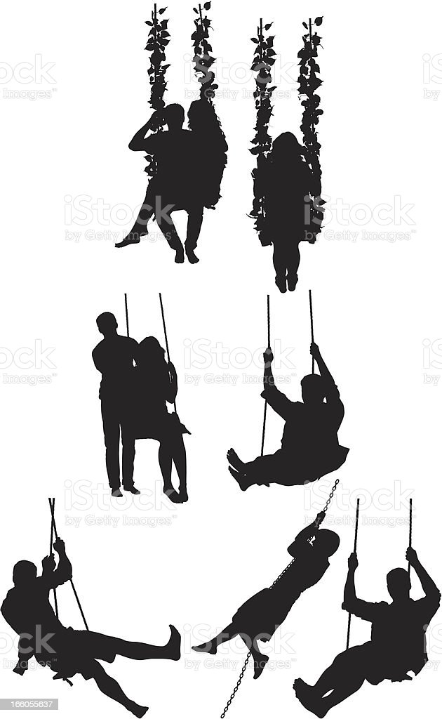 Silhouette of people on swing royalty-free stock vector art