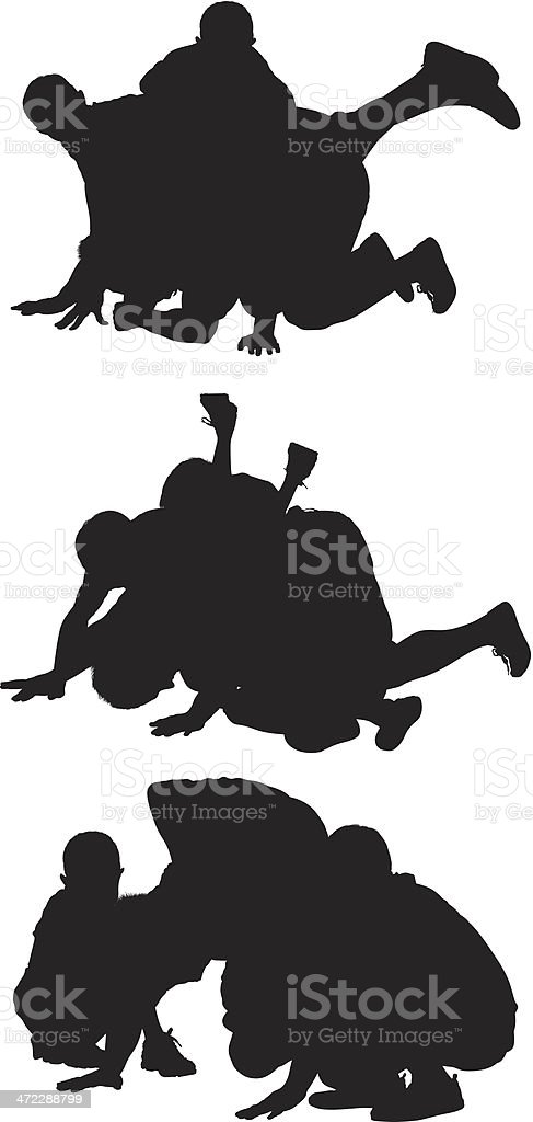 Silhouette of people playing vector art illustration