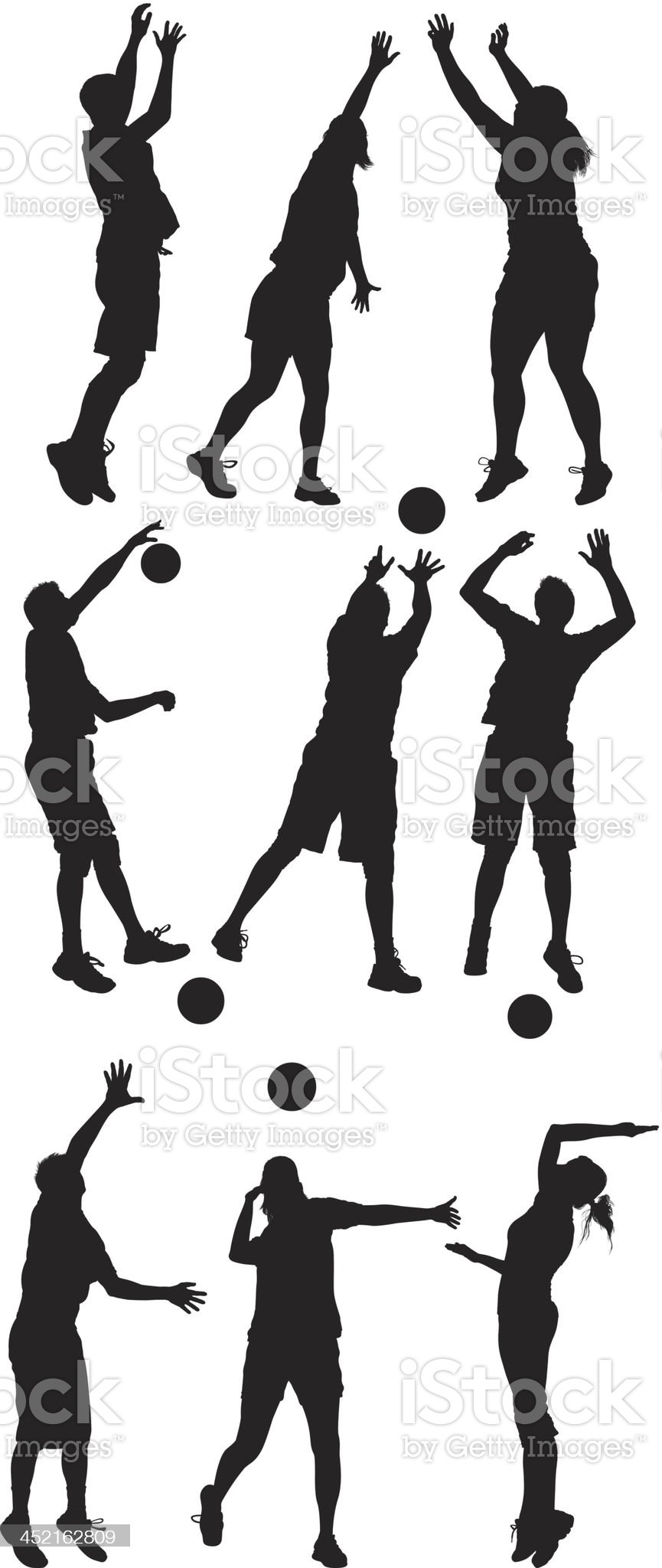 Silhouette of people playing volleyball royalty-free stock vector art