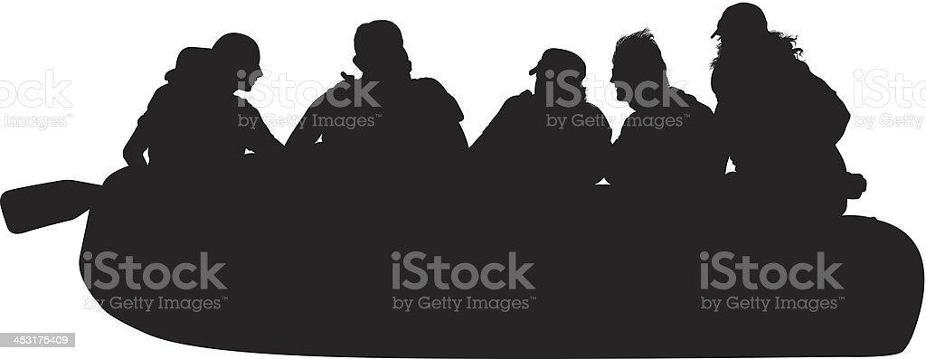Silhouette of people rafting vector art illustration