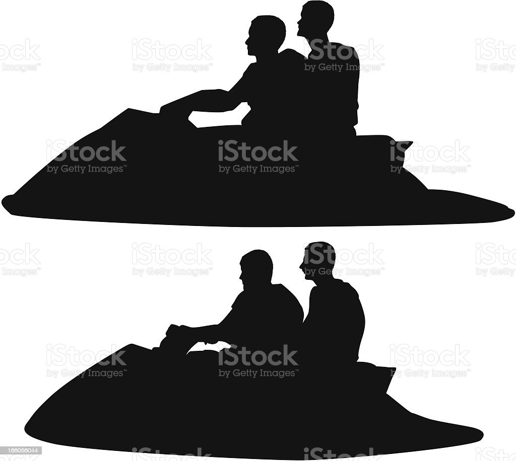 Silhouette of people riding jet ski royalty-free stock vector art