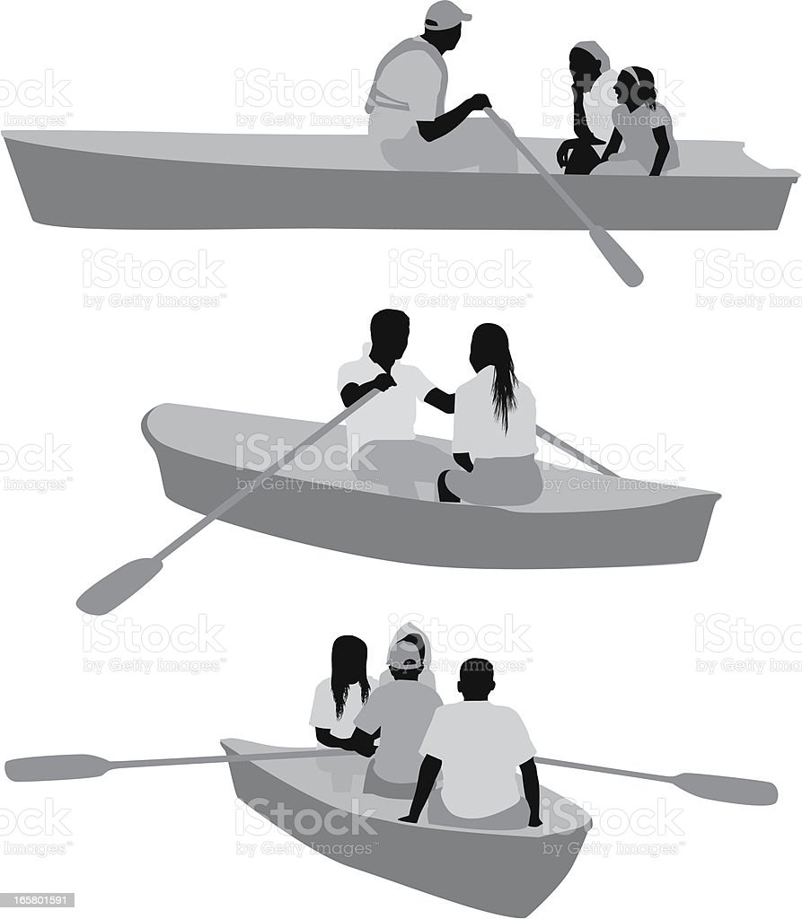 Silhouette of people rowing boats royalty-free stock vector art