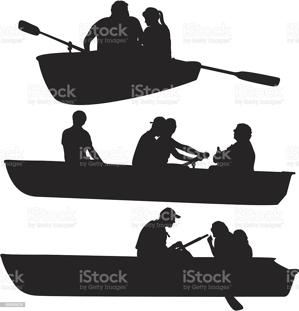 Silhouette of people rowing boats vector art illustration