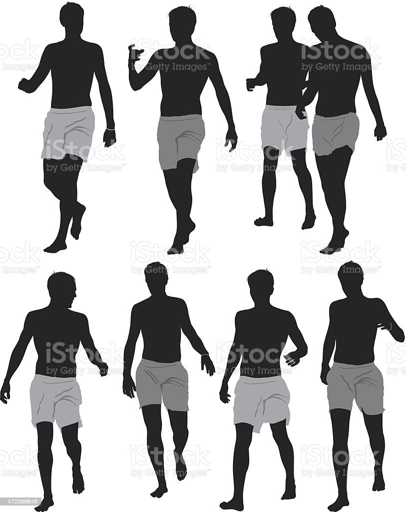 Silhouette of people running royalty-free stock vector art