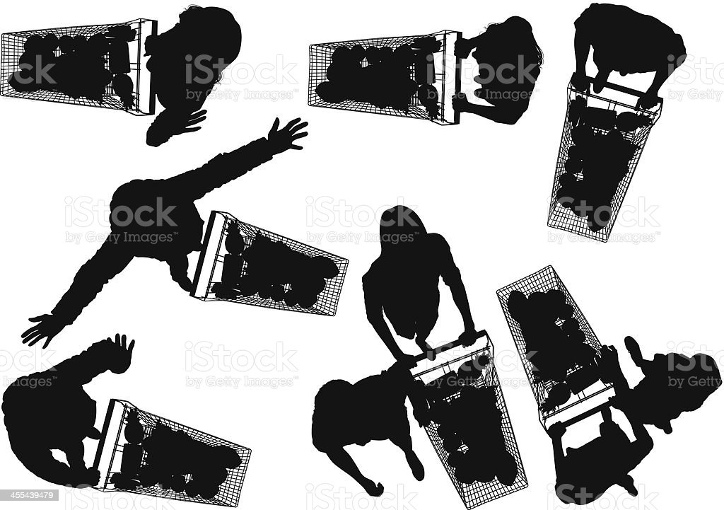 Silhouette of people shopping in a supermarket royalty-free stock vector art