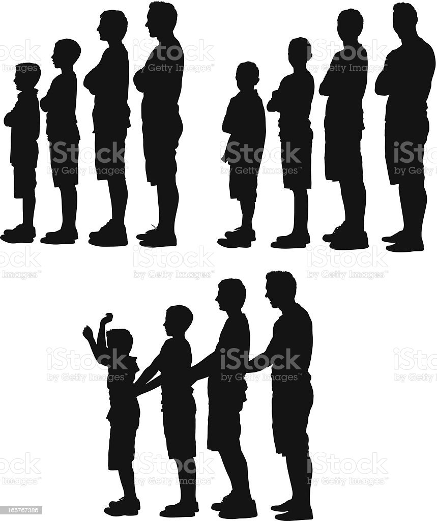 Silhouette of people standing in a row vector art illustration