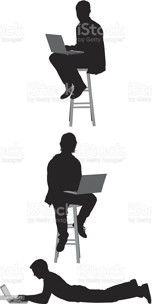 Silhouette of people using laptop royalty-free stock vector art