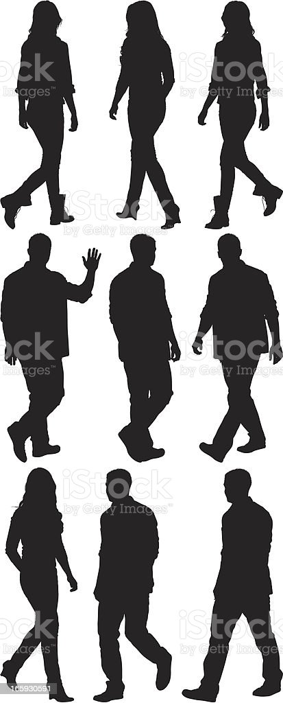 Silhouette of people walking royalty-free stock vector art