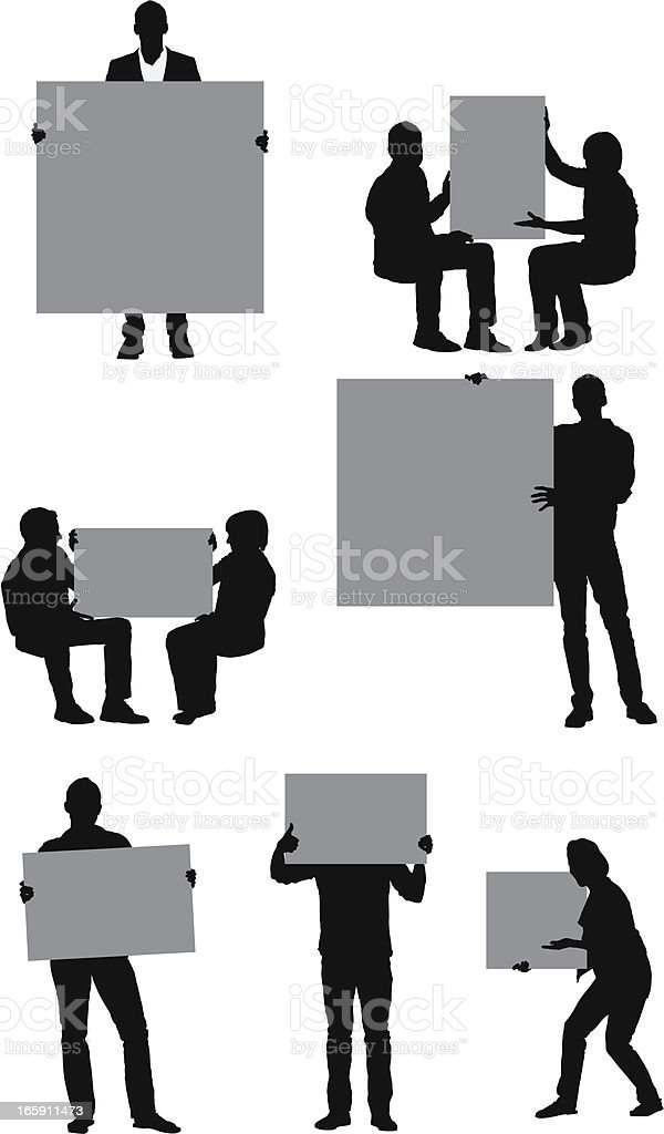 Silhouette of people with placards royalty-free stock vector art