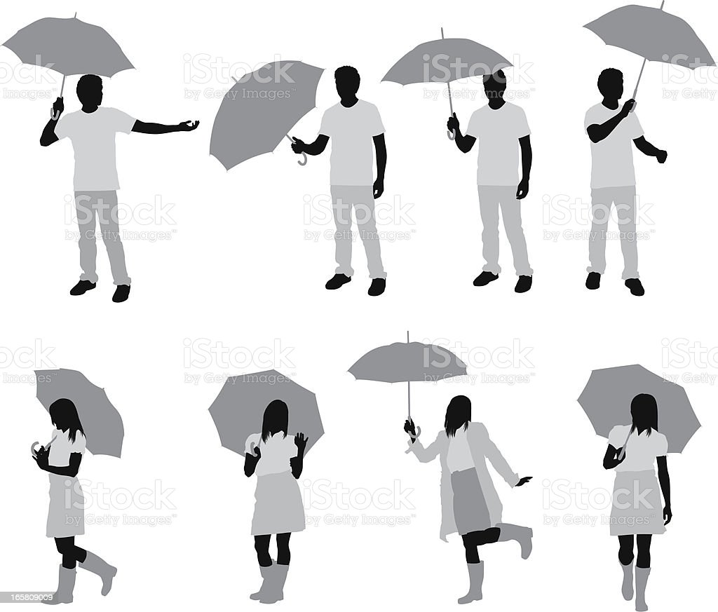 Silhouette of people with umbrellas royalty-free stock vector art