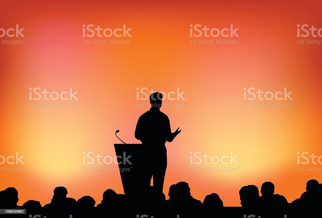 Silhouette of person presenting in front of crowd vector art illustration
