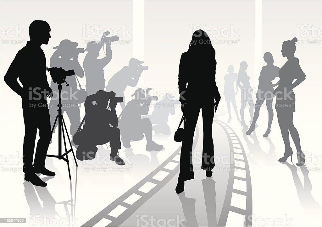 Silhouette of photographer on modeling shoot vector art illustration