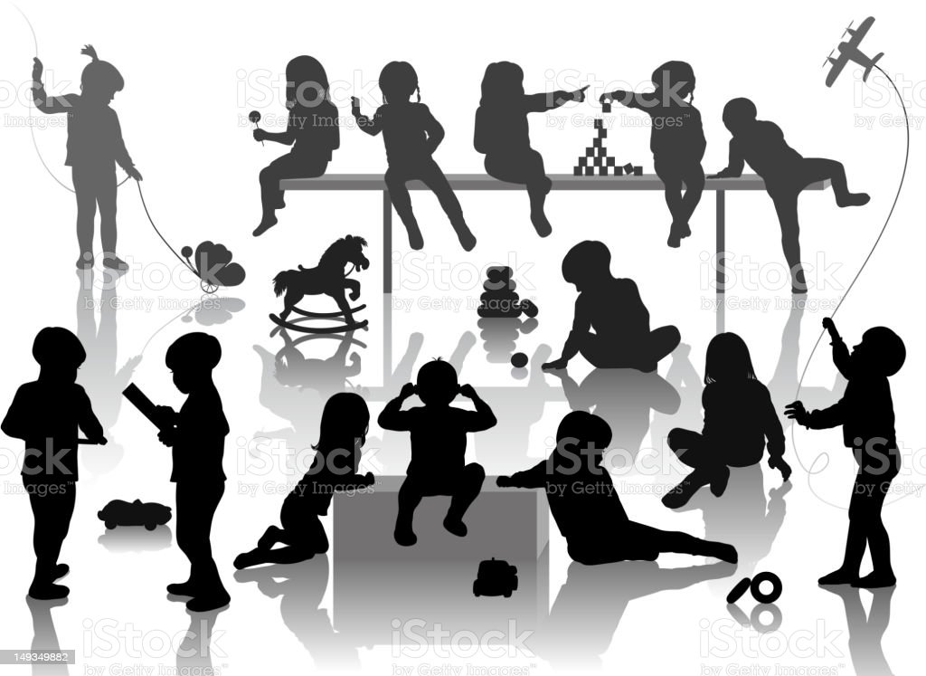 silhouette of playing children vector art illustration