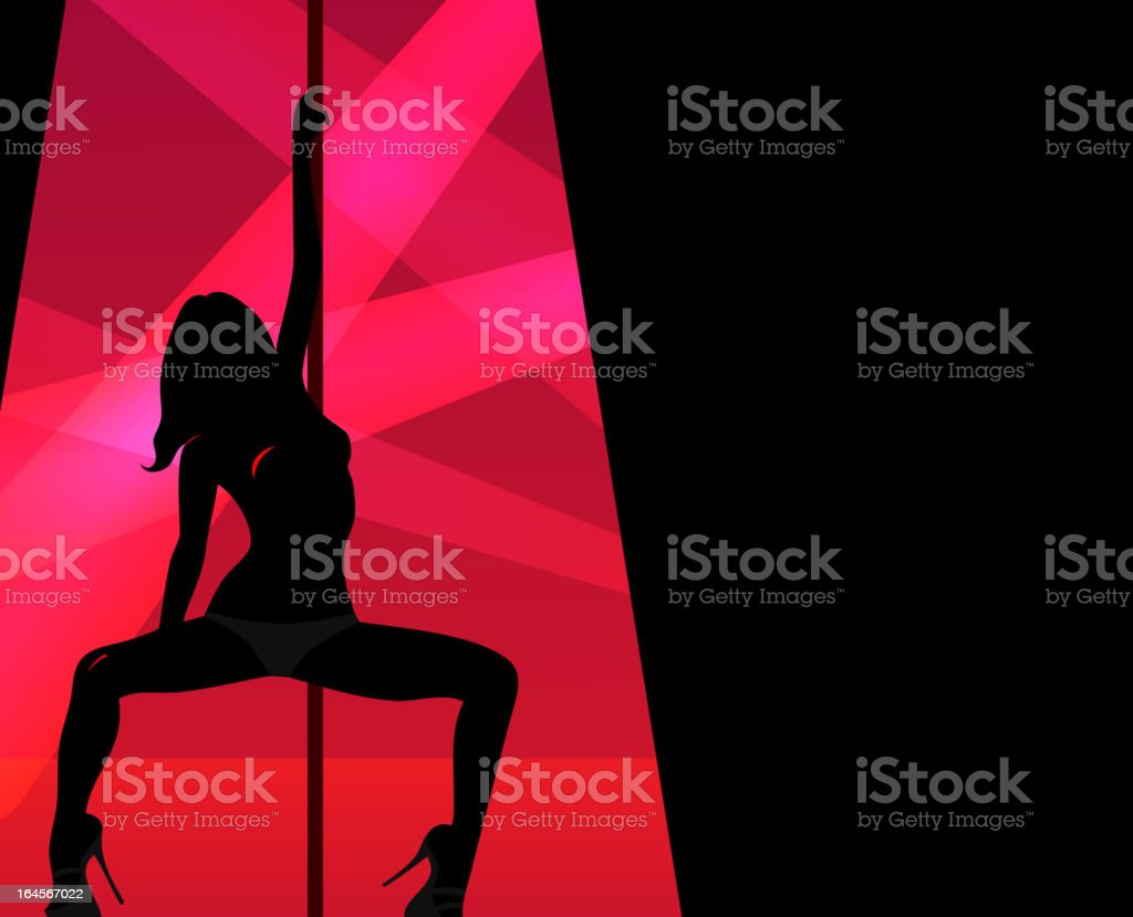 Silhouette of pole dancer within keyhole shape royalty-free stock vector art